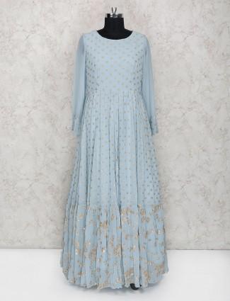 Exclusive blue georgette floor length anarkali suit