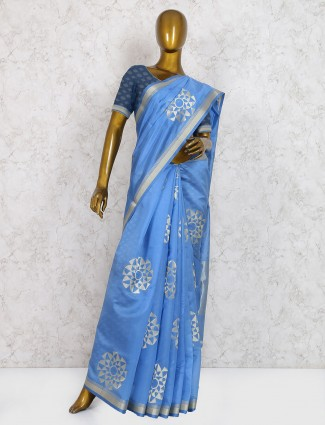 Exclusive blue hue pure silk saree