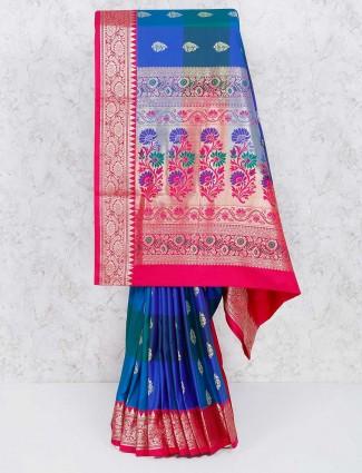 Exclusive blue hue semi silk saree