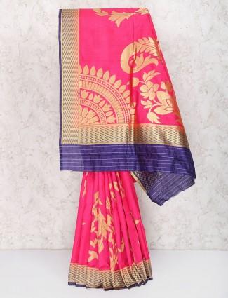 Exclusive bright pink semi silk wedding wear saree