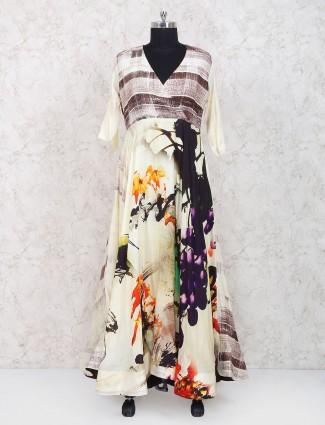 Exclusive cream cotton fabric long kurti