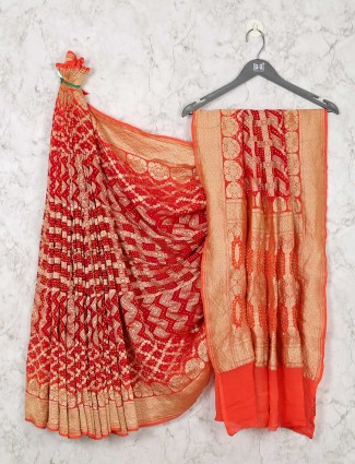 Exclusive Deisgner Red Bandhej Saree For Weddings