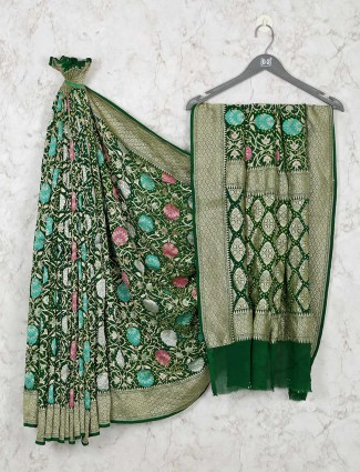 Exclusive green bandhej saree design