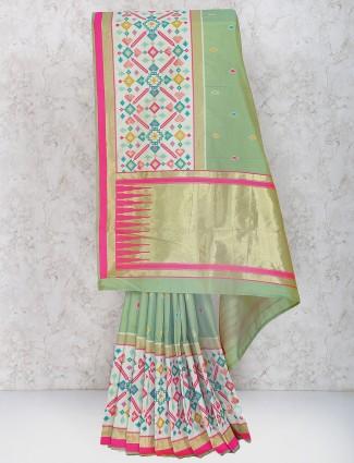 Exclusive green color semi silk festive sari