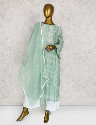 Exclusive green cotton silk punjabi suit