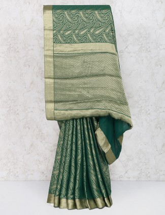 Exclusive green festive wear saree