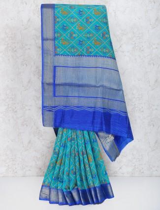 Exclusive green hue cotton silk saree