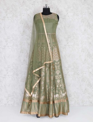 Exclusive green raw silk anarkali suit