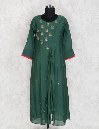 Exclusive green round neck cotton kurti