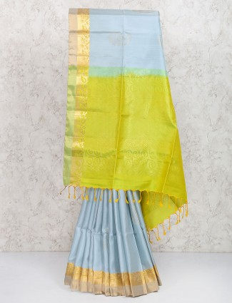 Exclusive grey color pure silk saree