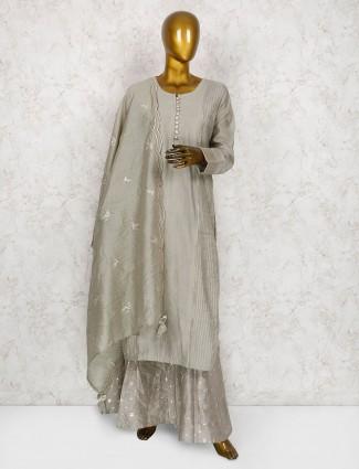 Exclusive grey cotton silk fabric sharara suit