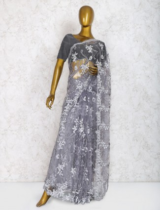Exclusive grey hue party saree in net