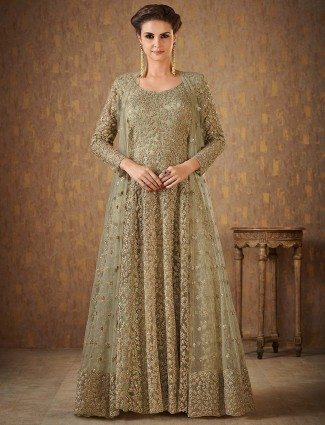 Exclusive light green anarkali suit in net