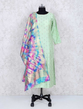 Exclusive light green sharara suit for festive occasion