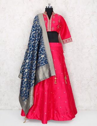 Exclusive magenta color raw silk lehenga choli