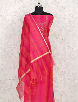 Exclusive magenta dress material in cotton