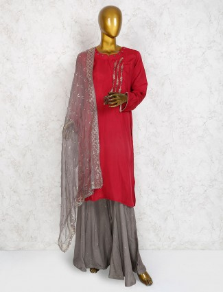 Exclusive maroon hue cotton silk sharara suit