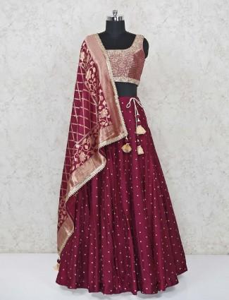 Exclusive maroon silk lehenga choli for wedding