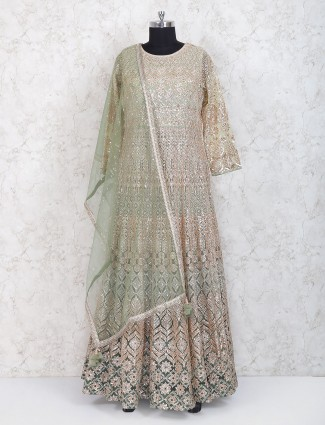 Exclusive mint green floor length anarkali suit