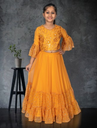 Exclusive mustard yellow georgette lehenga choli