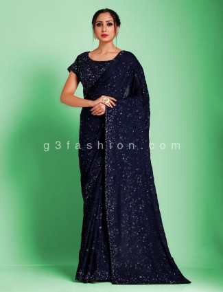 Exclusive navy georgette jaal sequins party wear with readymade blouse