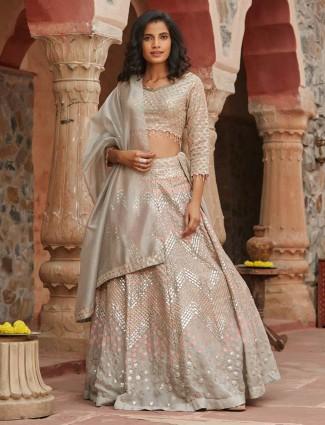 Exclusive off white silk lehenga choli designs for wedding