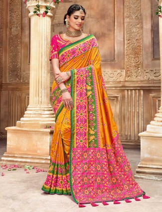 Exclusive orange and magenta patola silk saree