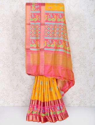 Exclusive orange color cotton silk saree