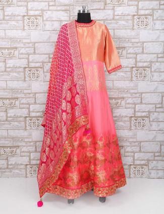 Exclusive orange silk fabric anarkali suit