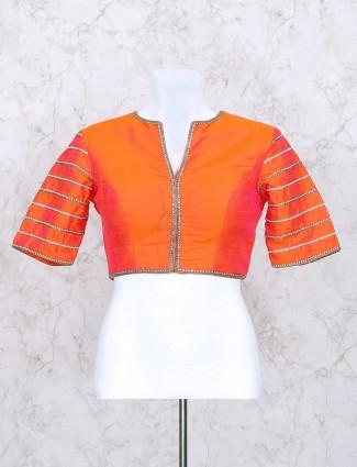 Exclusive orange silk ready made blouse
