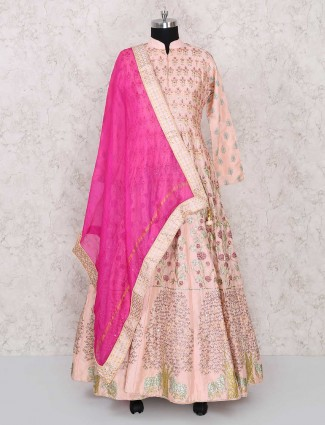 Exclusive peach anarkali suit for wedding occasion