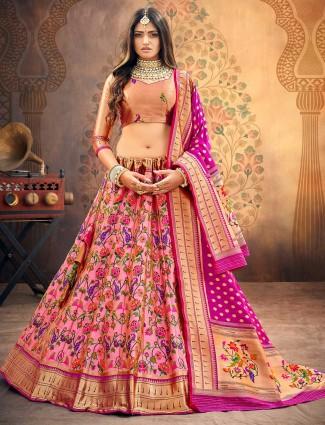 Exclusive peach and pink banarasi silk semi stitched lehenga choli