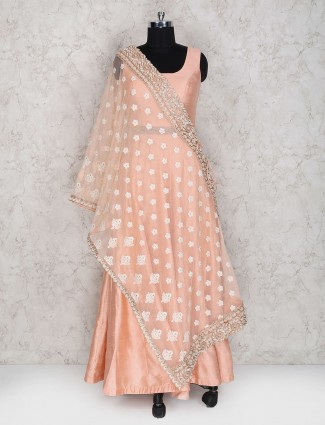 Exclusive peach color floor length anarkali suit