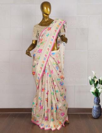 Exclusive peach color pure banarasi wedding saree