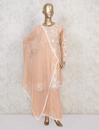Exclusive peach georgette punjabi sharara suit