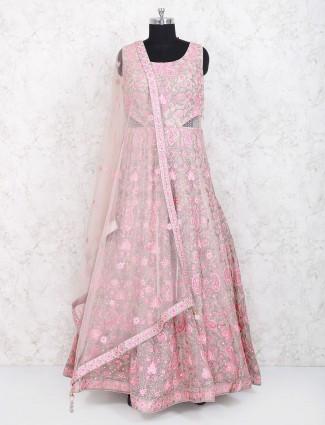 Exclusive pink colored net anarkali suit