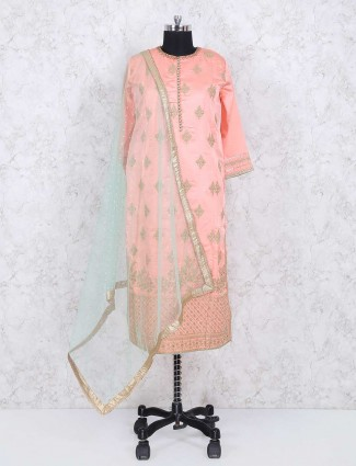 Exclusive pink cotton silk sharara suit