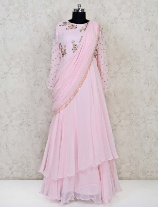 Exclusive pink georgette floor length anarkali salwar suit