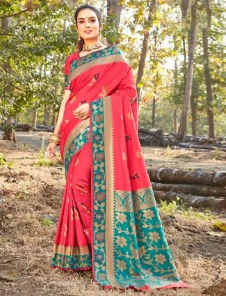 Exclusive pink soft silk festive wear saree