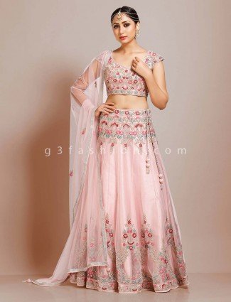 Exclusive pink tissue silk weddding wear lehenga choli