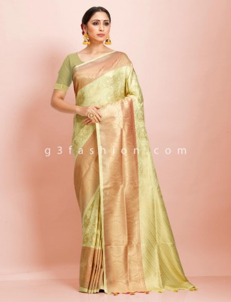 Exclusive pista green art kanjivaram silk wedding saree