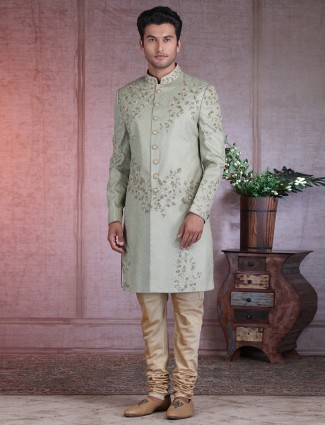 Exclusive pista green wedding sherwani