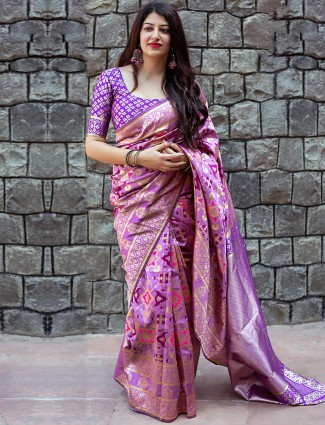 Exclusive violet banarasi patola silk saree