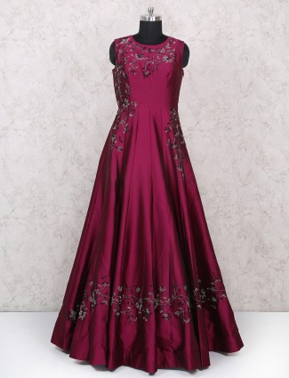 Exclusive Purple silk fabric gown