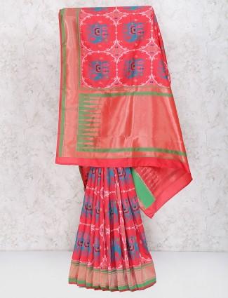 Exclusive red color semi silk sari