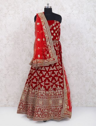 Exclusive red color semi stitched lehenga choli in velvet
