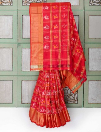 Exclusive red color silk fabric wedding saree