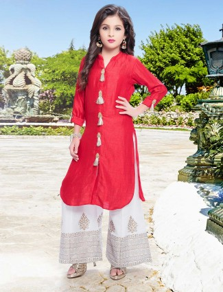 Exclusive red festive wear palazzo suit