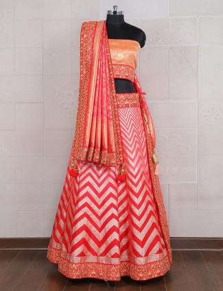 Exclusive red hue semi stitched lehenga choli in silk