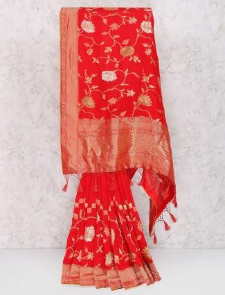 Exclusive red muga silk saree